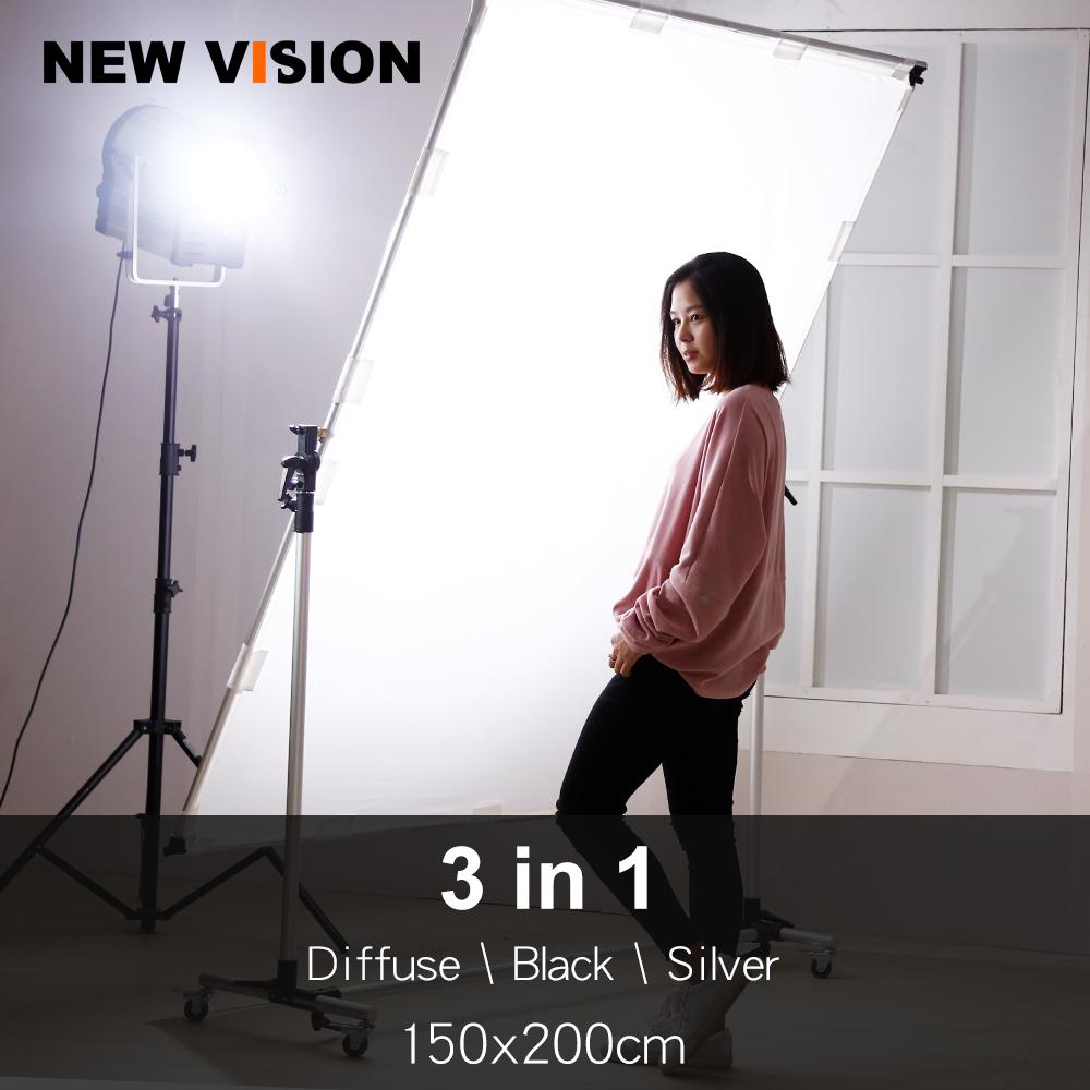 [해외]Pro Studio 솔루션 조정 가능한 방향 150x200cm 접을 수있는 Sun Scrim, Diffuse & amp; 실버 블랙 리플렉터 키트 휠/Pro Studio Solutions Adjustable Direction 150x200cm Collap