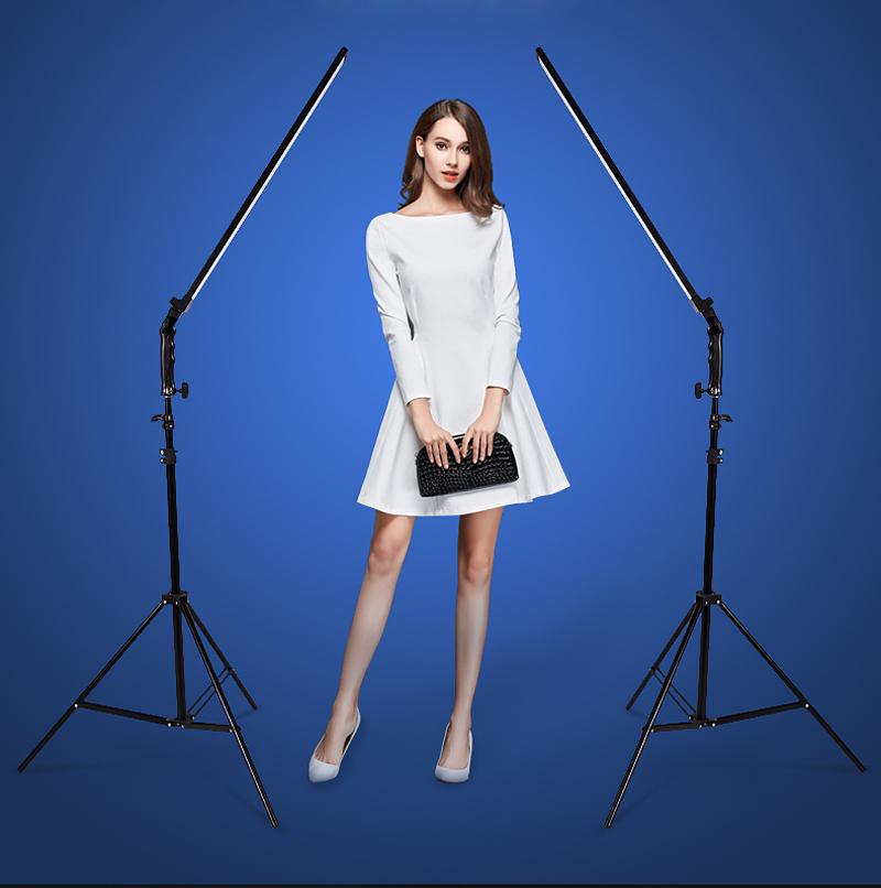 [해외]포토 스튜디오 세트 2x60cm 핸드 헬드 디 밍이 가능한 LED 비디오 라이트 + DSLR 카메라 사진 모델 라이브 2x 라이트 스탠드 + 2x AC 어댑터/Photo Studio set 2x 60cm Handheld Dimmable LED Video Ligh