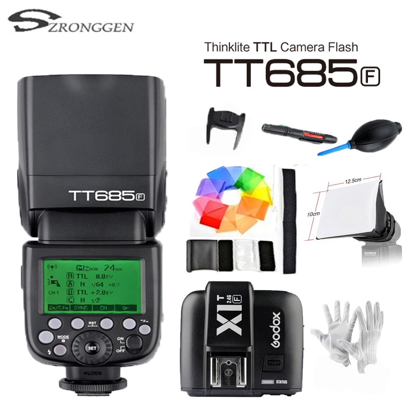 [해외]?Fuji X-Pro2 / X-T20 / X-T1 / X-T2 용 Godox TTL TT685F 카메라 플래시 2.4G 무선 HSS 1 / 8000s GN60 + X1T-F 송신기 키트/ Godox TTL TT685F Camera Flash 2.4G wirele