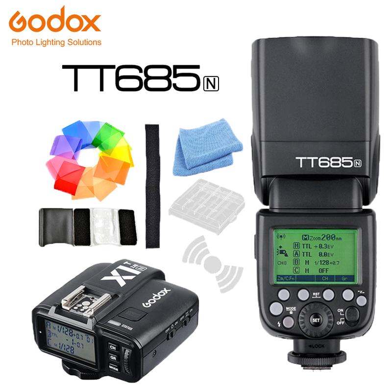 [해외]Godox TT685N 2.4G HSS i-TTL GN60 무선 플래시 + X1T-N TTL 트리거 니콘 D800 D700 D7100 D7000 D5200 D5100 D70S D810 D90/Godox TT685N 2.4G HSS i-TTL GN60 Wirele