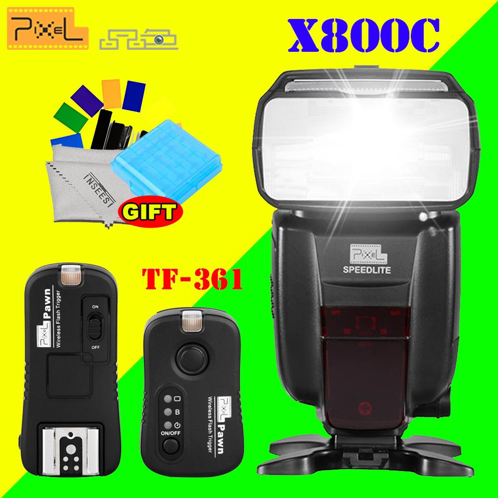 [해외]픽셀 X800C 표준 TTL HSS 무선 플래시 Speedlite & amp; TF-361 캐논 70D 300D 1000D 1100D DSLR 카메라 용 무선 플래시 트리거/Pixel X800C Standard TTL HSS Wireless flash S