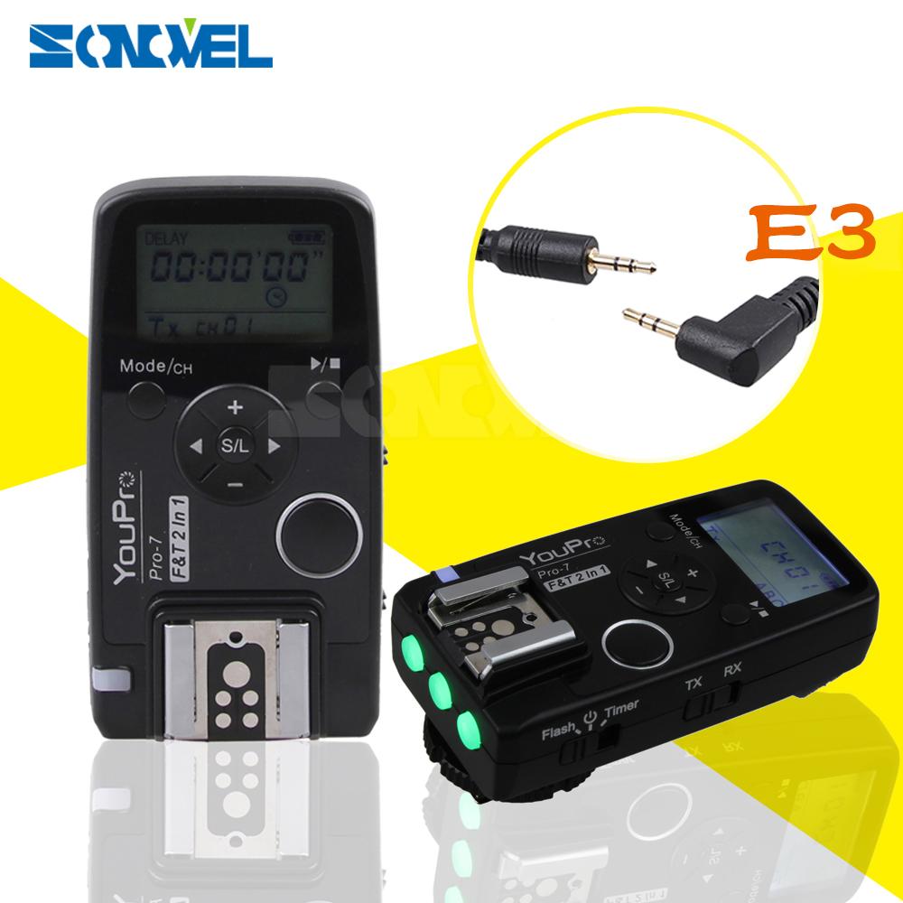 [해외]YouPro Pro-7 무선 셔터 타이머 원격 및 플래시 트리거 E3 2.5mm PC Sync & amp; 캐논 200D 펜탁스 용 셔터 케이블/YouPro Pro-7 Wireless Shutter Timer Remote and Flash TriggerE