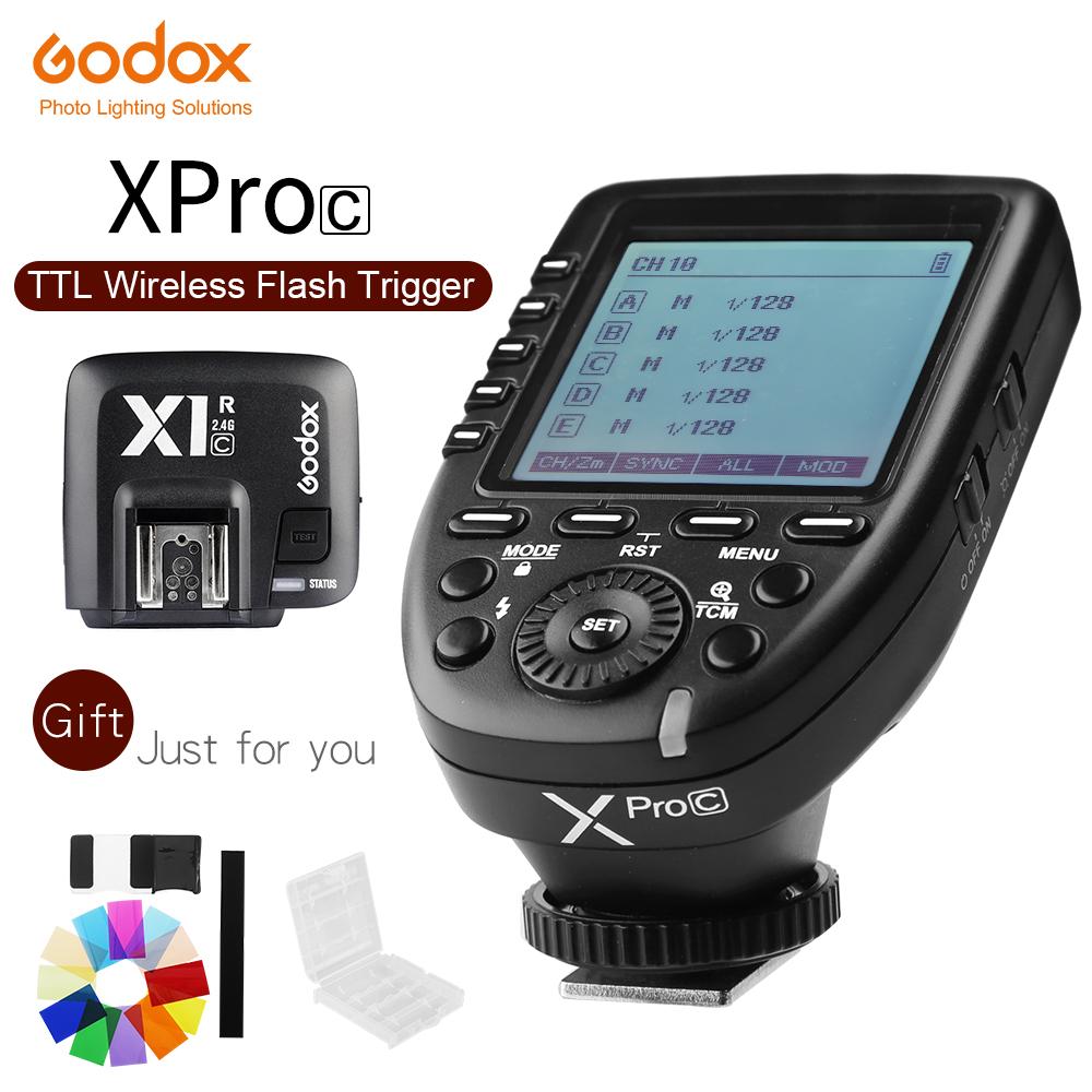 [해외]Godox Xpro-C E-TTL II 2.4G X 시스템 무선 제어 원격 TriggerX1R-C 컨트롤러 Canon 플래시 용 수신기 호환/Godox Xpro-C E-TTL II 2.4G X System Wireless Control Remote Trigger