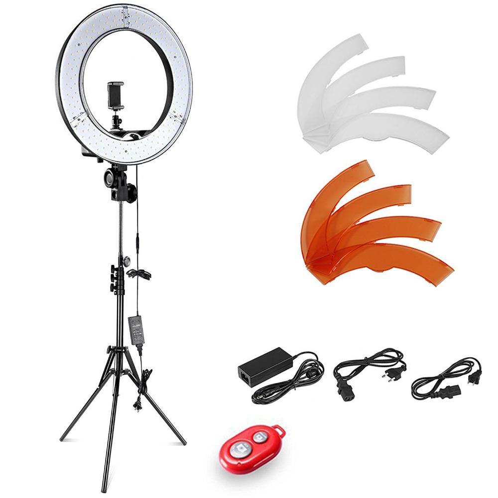 [해외]Neewer 카메라 사진 비디오 번개 키트 : 18 인치 / 48 센티미터 외부 55W 5500K 디 밍이 가능한 LED 링 라이트 + 라이트 스탠드 + 블루투스/Neewer Camera Photo Video Lightning Kit:18 Inches/48 Ce