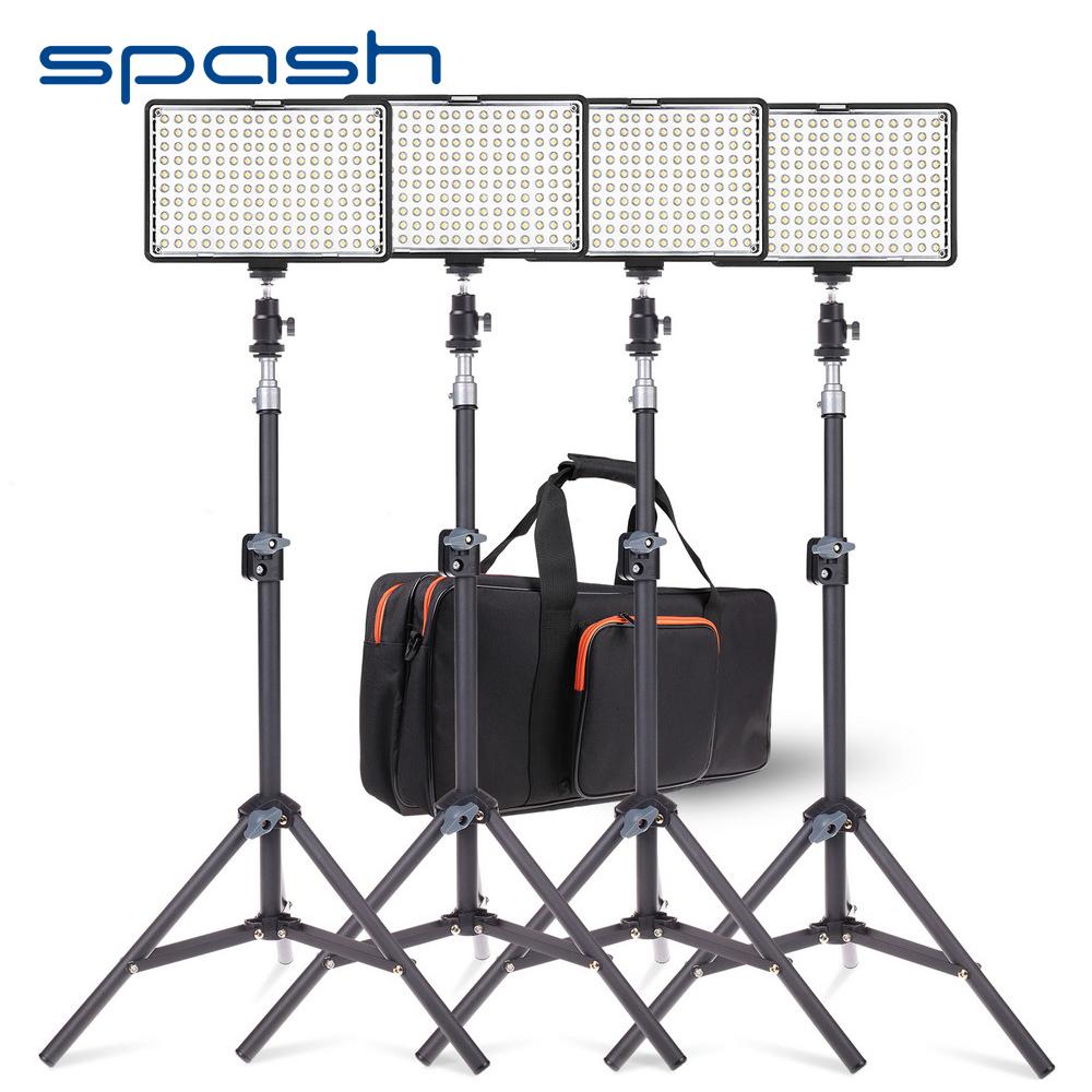 [해외]1 개의 Dimmable 3200K-5600K에있는 스포크 160 LED 영상 빛 장비 4 Professional Photo Lighting Set LED 스튜디오 빛 램프/spash 160 LED Video Light Kit 4 in 1 Dimmable 320