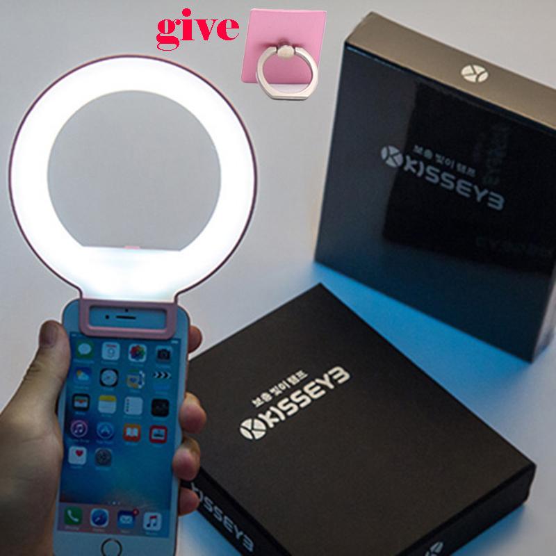 [해외]휴대용 클립 - 온 러블리 LED Selfie 링 라이트 램프 자화상 스마트 폰을보조 필 라이트 조명/Portable Clip-on Lovely LED Selfie Ring Light Lamp Self-portrait Supplementary Fill-in Li