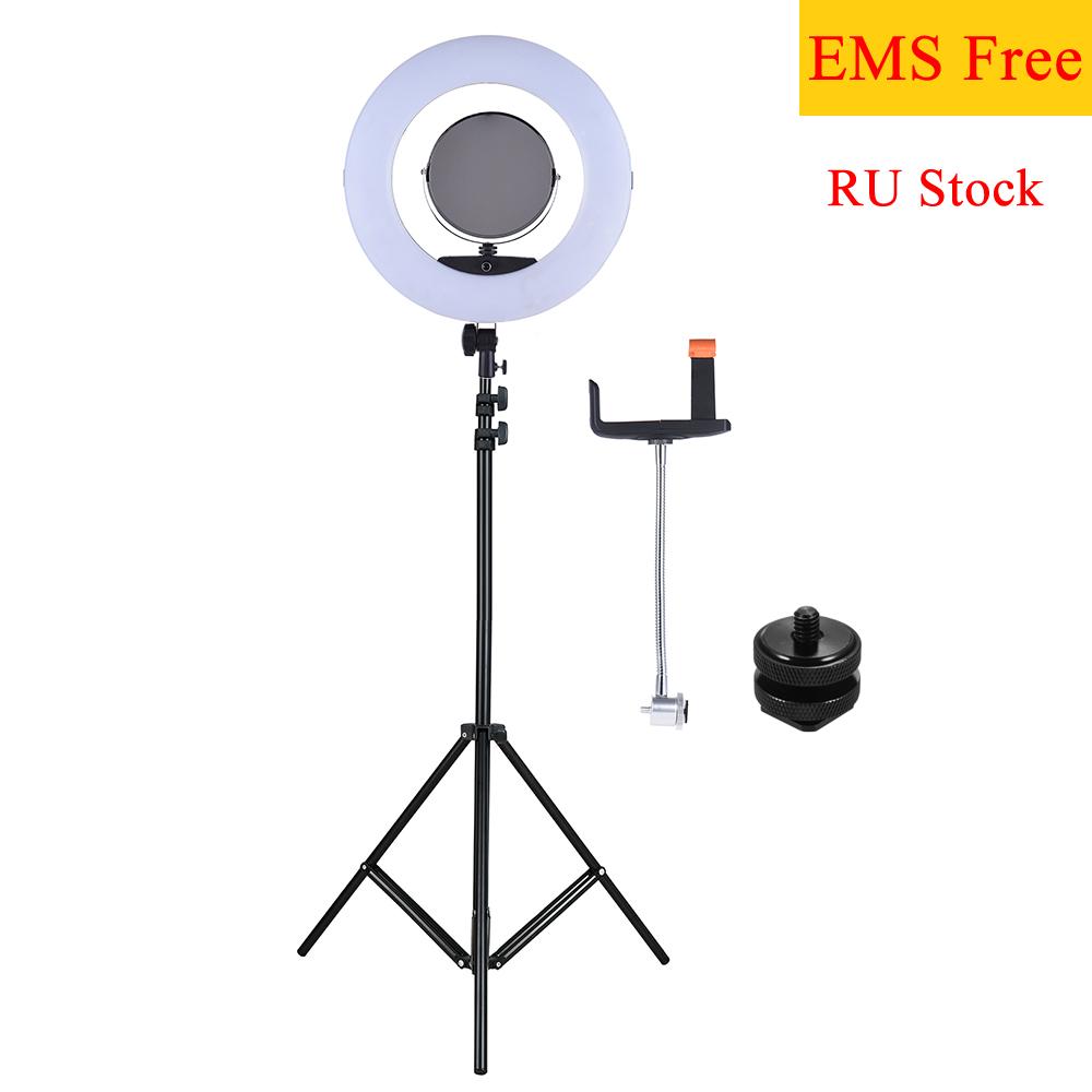[해외]FD-480II 17.7 & 45cm 96W LED 비디오 링 라이트 램프 (LCD + 접이식 라이트 스탠드 + 어댑터 + 메이크업 미러 + 카메라 용 스마트 폰 홀더)/FD-480II 17.7&/45cm 96W LED Video Ring Light La