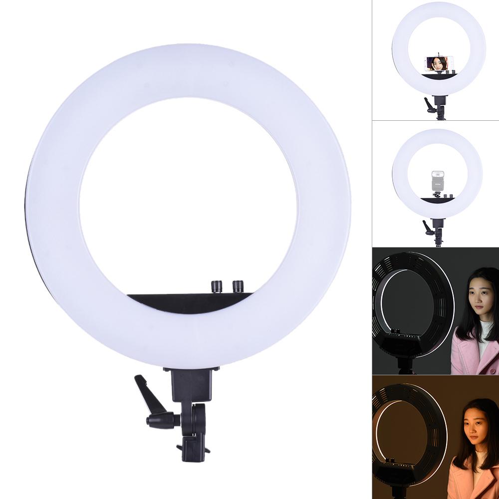[해외]18 & LED 비디오 링 라이트 필 인 램프 스튜디오 사진 조명 50W 밝기 3200K-5500K 스마트 폰 홀더 콜드 슈베이스/18& LED Video Ring Light Fill-in Lamp Studio Photography Lighting 50W