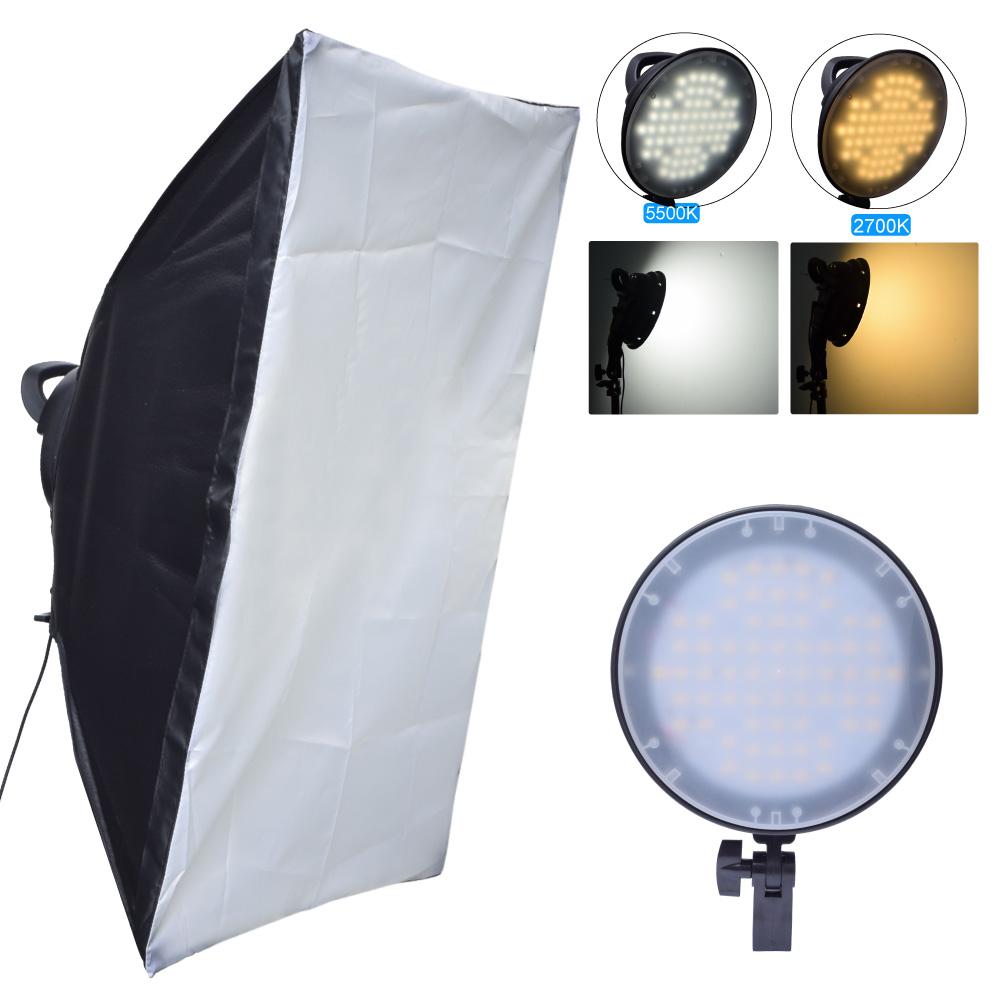[해외]Fotoconic 45W 2700K 5500K 126 LED 디 밍이 가능한 스튜디오 사진 빛 50x70cm 소프트 박스 사진 카메라 전화 비디오 조명/Fotoconic 45W 2700K 5500K 126 LED Dimmable Studio Photo Light