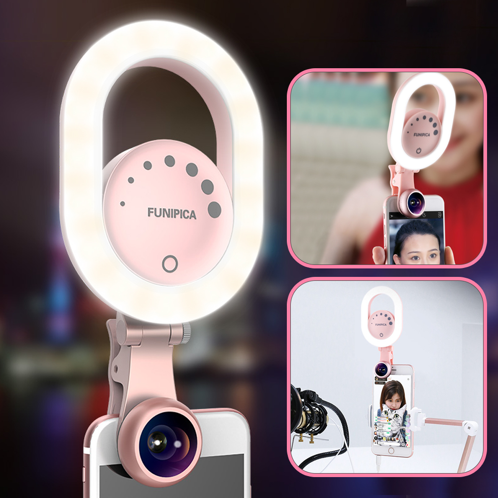 [해외]Ulanzi Youtube 라이브 스트리밍 링 라이트 와이드 앵글 렌즈 사진 3 레벨 밝기 Selfie Light for iPhone 8 Smartphone/Ulanzi Youtube Live Streaming Ring Light w Wide Angle Lens