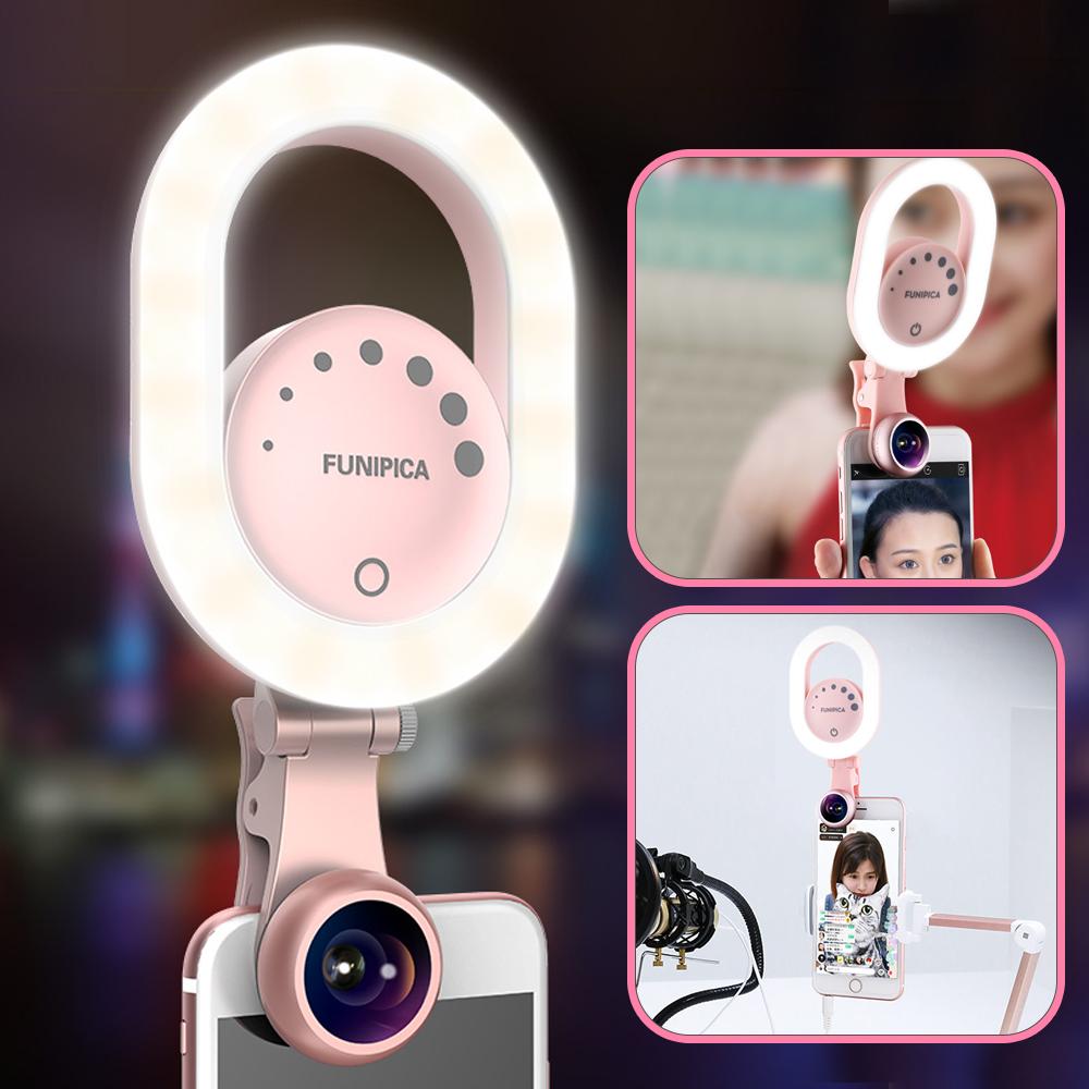 [해외]Ulanzi Youtube 라이브 스트리밍 링 라이트 와이드 앵글 렌즈 사진 3 레벨 밝기 Selfie Light for iPhone 8 Smartphone/Ulanzi Youtube Live Streaming Ring Light w Wide Angle Lens