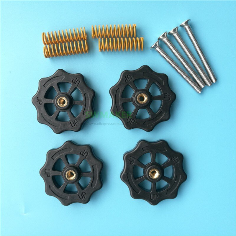 [해외]M4 thumb level nut leveling knob + springs Screws kit for Creality CR-10S CR-10 S4 S5 Ender-3 3D Printer/M4 thumb level nut leveling knob + spring