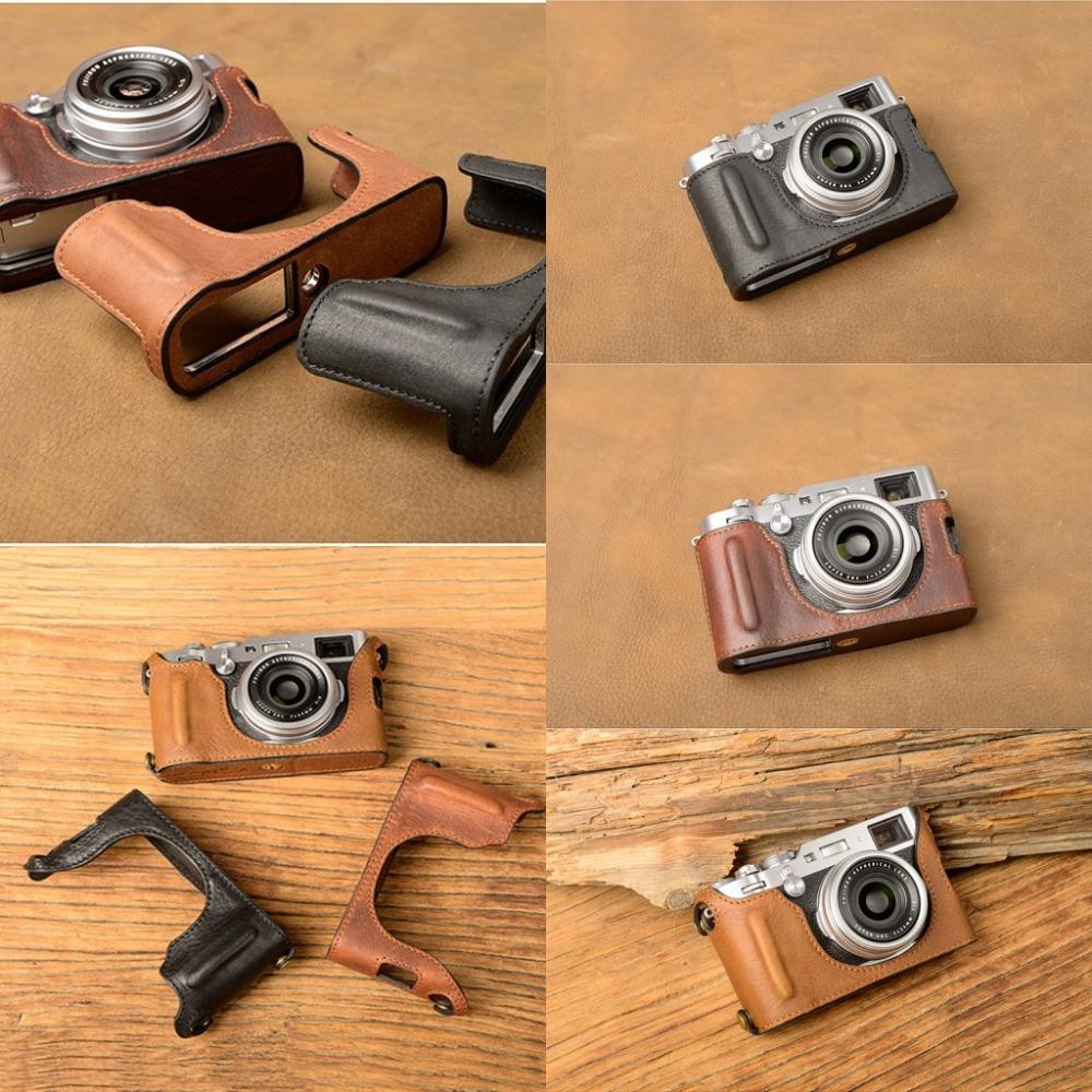 [해외][VR] 수제  가죽 카메라 케이스 For Fujifilm X100F X100-F 카메라 가방 하프 커버 빈티지 케이스/[VR] Handmade Genuine Leather Camera case For Fujifilm X100F X100-F Camera Bag