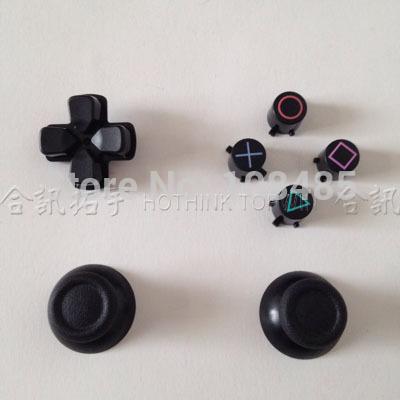 [해외]새로운 대체 블랙 3D 조이스틱 아날로그 캡 + PS4 컨트롤러의 버튼/New Replacement Black 3D joystick analog cap + Buttons for PS4 controller