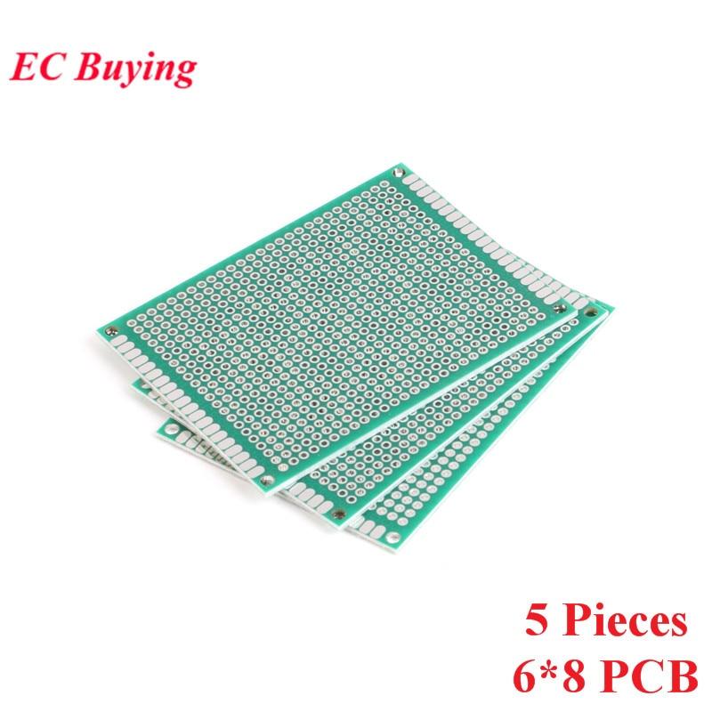 [해외]5pcs 6x8cm Double Side Prototype PCB Universal Printed Circuit Board DIY For Arduino 2.54mm Glass Fiber 6*8cm 60x80mm 60*80mm/5pcs 6x8cm Double Si
