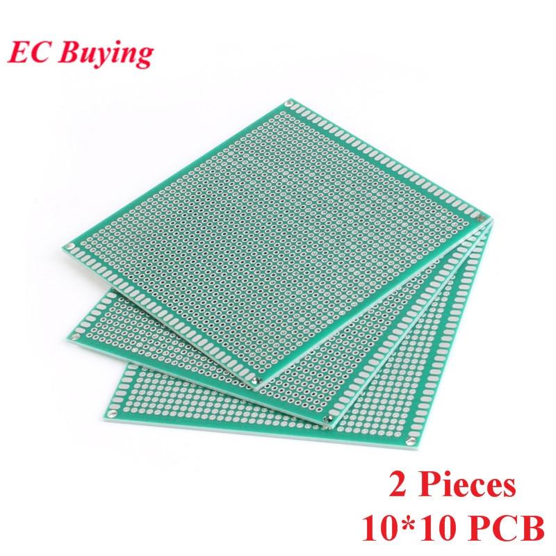 [해외]2pcs 10x10cm Double Side Prototype Universal Printed Circuit PCB Board 2.54mm Pitch Protoboard Hole Plate 10*10cm 100*100mm/2pcs 10x10cm Double Si
