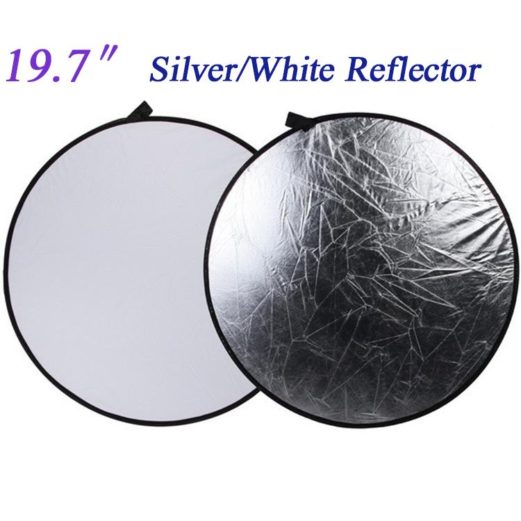 """[해외]22 """"56cm 2 in 1 라운드 플래시 사진 스튜디오 접이식 가벼운 사진 카메라 반사판 은색 흰색 사진 반사판 디스크/22\"""