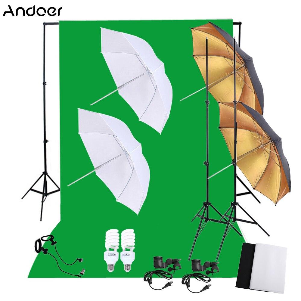 [해외]/Professional Photography Photo Lighting Kit Set 45W 5500K Daylight Studio Bulbs+Light Stands+Backdrop Soft Reflector Umbrellas