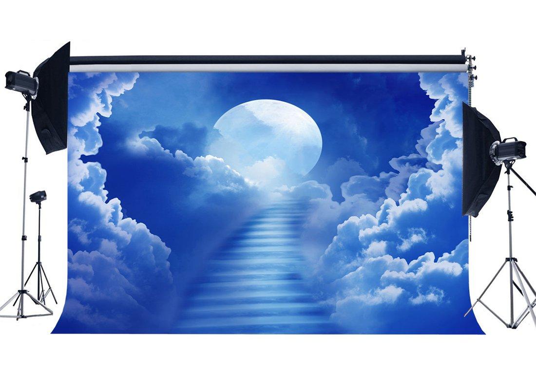 [해외]/Steps to Heaven Backdrop Fairytale Shining Moon Night Blue Sky White Cloud Dreamy Landscape Background