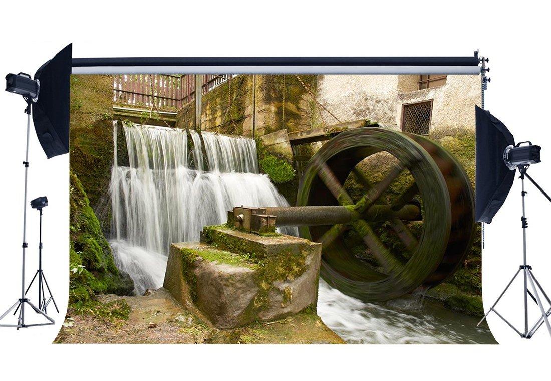 [해외]/Shabby Countyard Backdrop Old Water Wheel Waterfall Cascade Green Moss Grunge Concerte Wallpaper Background