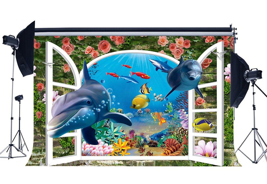 [해외]/3D Backdrop Underwater World Backdrops Fish Dolphin Crash Brick Wall Fresh Rose Flowers Photography Background