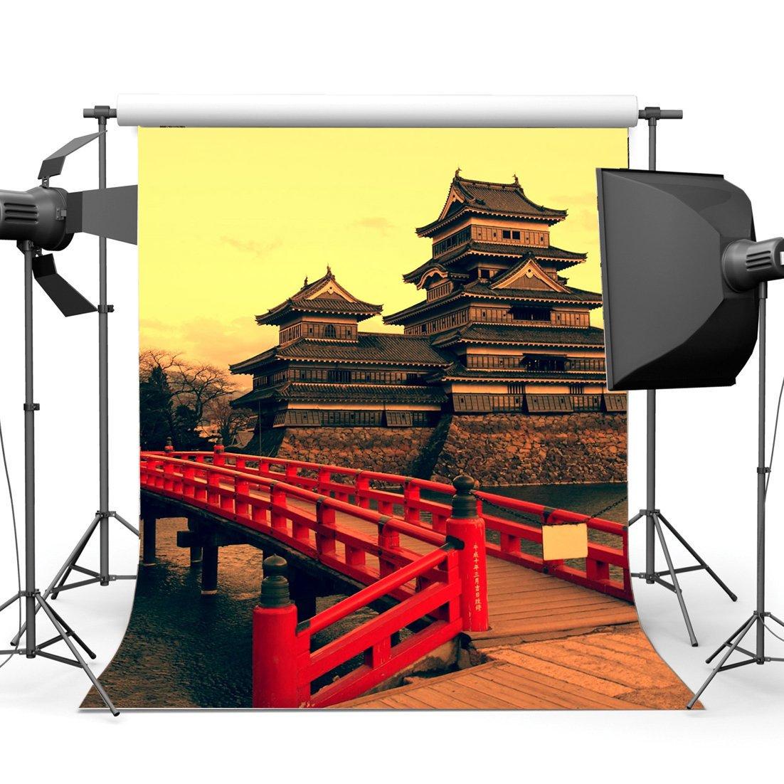 [해외]/Japanese Palace Backdrop Old Castle Backdrops Red Wood Bridge River Historic Culture Outdoor Journey Background