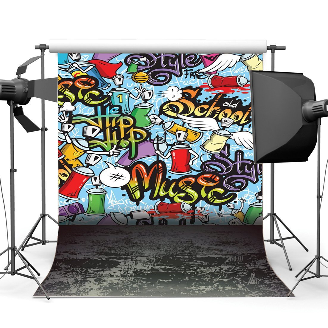 [해외]/Graffiti Backdrop Hip Hop Backdrops Multicolor Painted Hand Drawing Artistic Grunge Concerte Floor Background