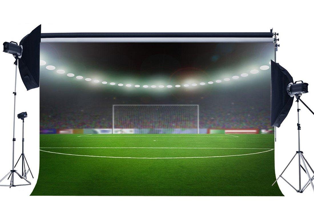 [해외]/Football Field Backdrop Indoor Stadium Bokeh Stage Lights Green Grass Meadow Sports Match School Game Background