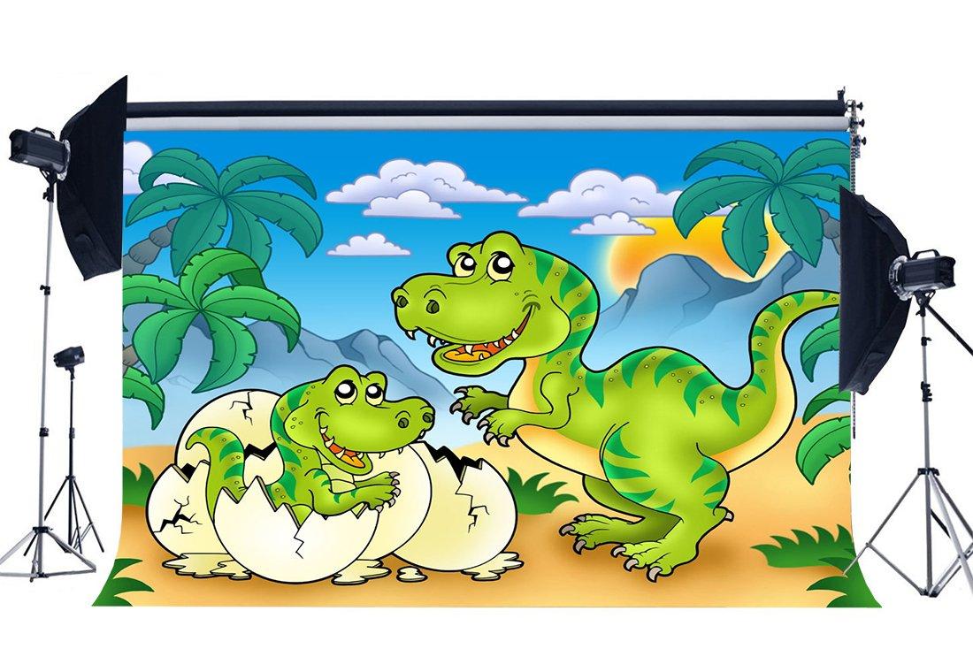 [해외]/Dinosaur Backdrop Jurassic Period Cartoon Backdrops Coconut Tree Blue Sky White Cloud Fairytale Photography Background