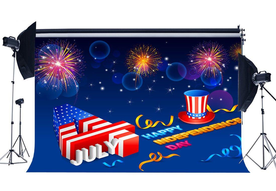 [해외]/Independence Day Backdrop 4th July American Flag Backdrops Statue of Liberty Bokeh Sequins Fireworks Stars Background