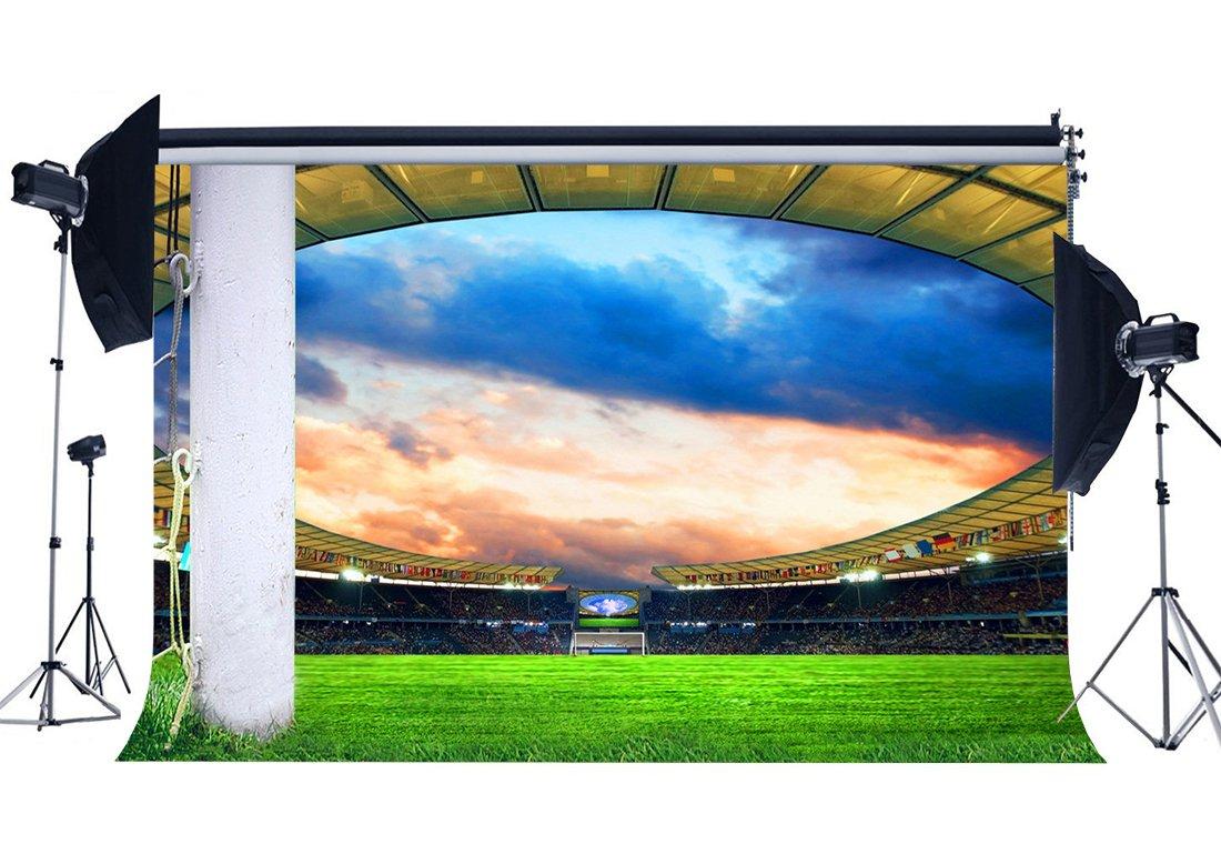 [해외]/Football Field Backdrop Stadium Stage Lights Crowd Green Grass Meadow White Pillars Sports Match Background