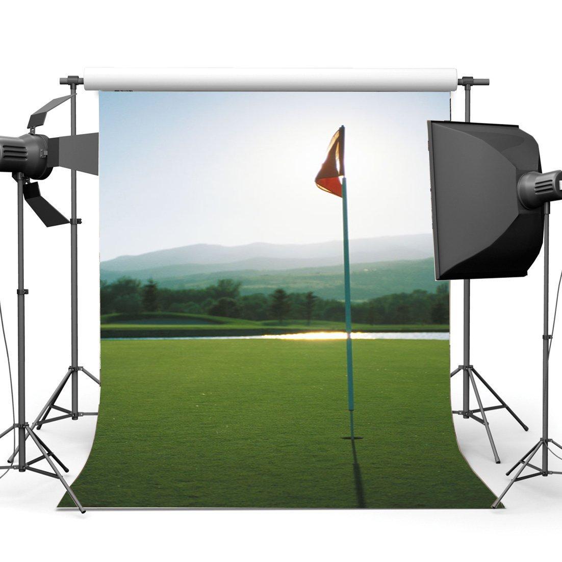 [해외]/Golf Course Backdrop Jungle Forest Backdrops Mountain Banner River Green Grass Meadow Spring Background