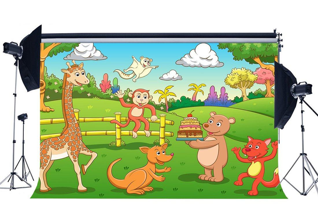[해외]/Zoo Park Backdrop Animals World Backdrops Cake Smash Giraffe Jungle Forest Green Grass Meadow Cartoon Background