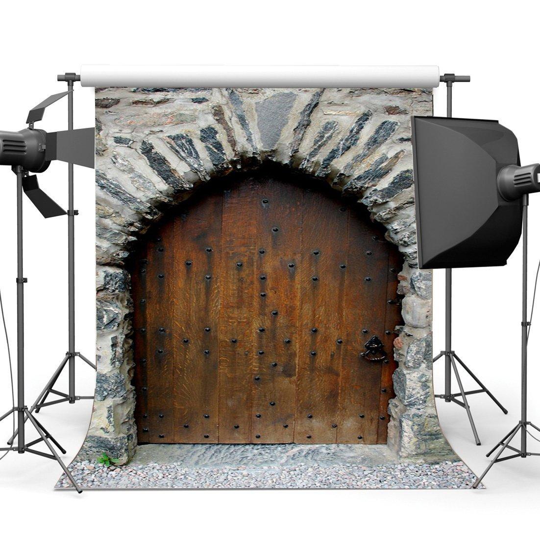 [해외]/Old Barn Backdrop Nostalgia Arch Door Backdrops Weathered Stone Brick Wall European Archiculture Front Background