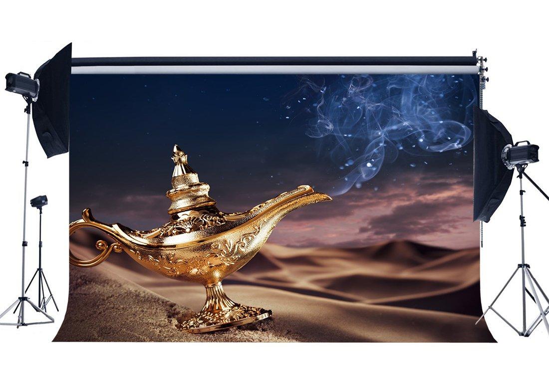[해외]/Magic Aladdin Lamp Backdrop Fairytale Lantern Backdrops Sand Beach Desert Mythology Good Luck Wishing Background