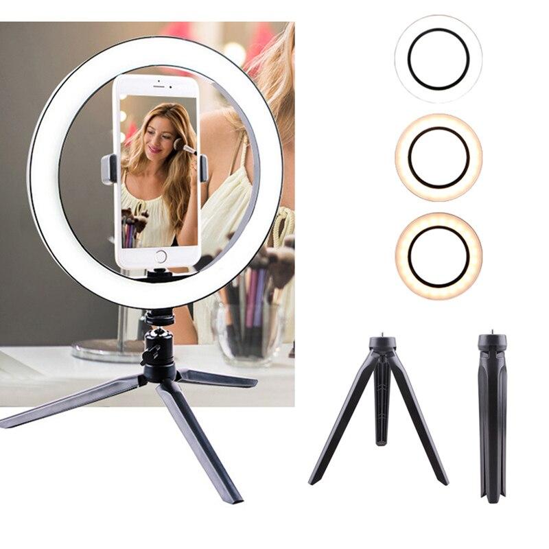 [해외]사진 10 인치 6500 k 디 밍이 가능한 led selfie 링 라이트 카메라 전화 비디오 메이크업 램프 테이블 삼각대 및 전화 홀더/사진 10 인치 6500 k 디 밍이 가능한 led selfie 링 라이트 카메라 전화 비디오 메이크업 램