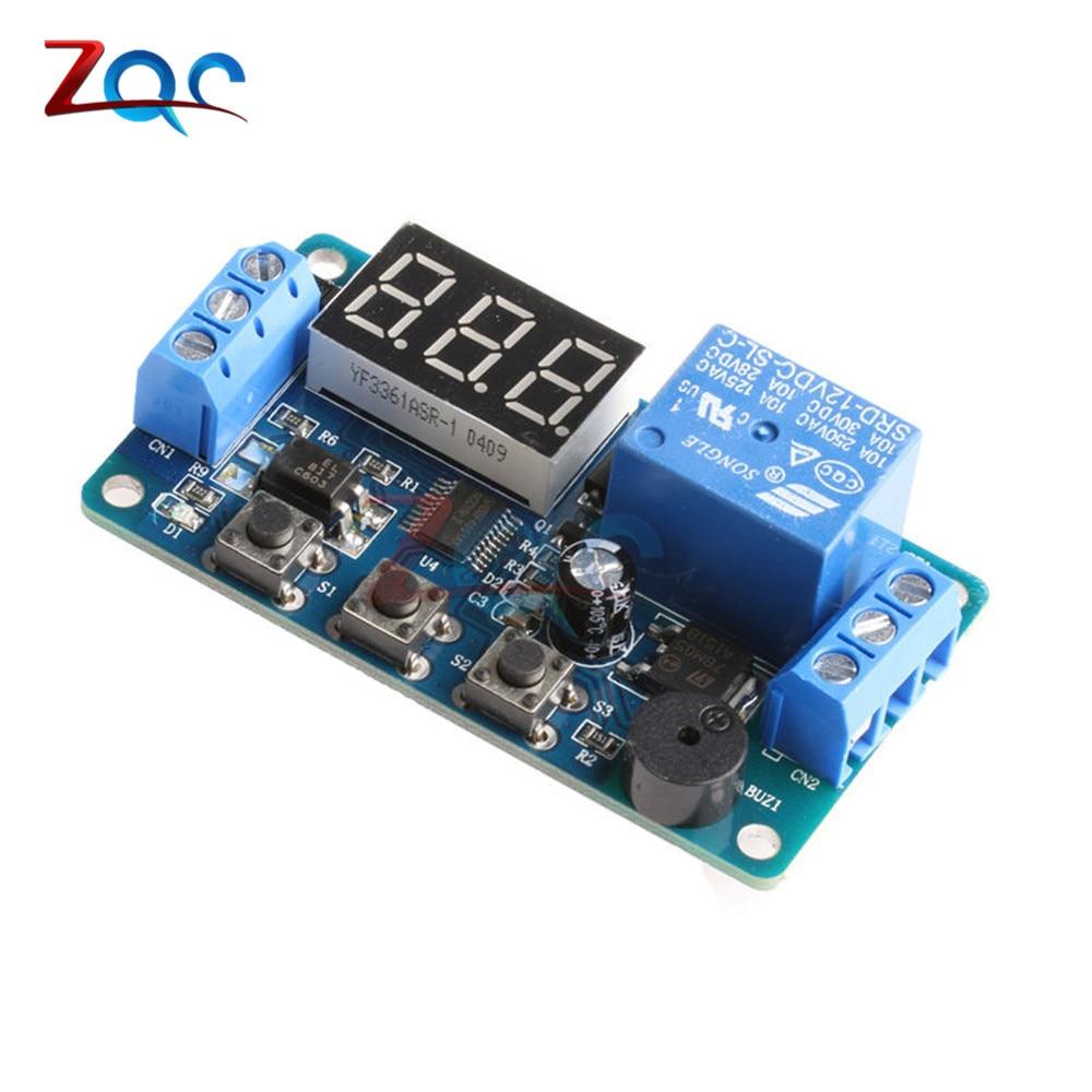 [해외]디지털 LED 디스플레이 시간 지연 릴레이 모듈 보드 DC 12V 제어 타이머 스위치 트리거 사이클 모듈 자동차 버저 PLC 자동화/Digital LED Display Time Delay Relay Module Board DC 12V Control Timer S