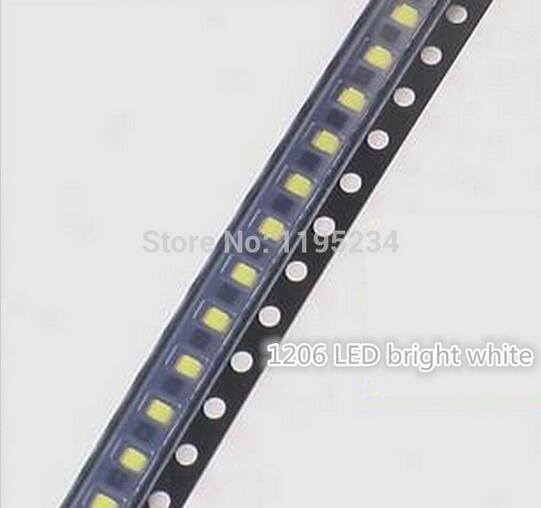 [해외] 1000 개 / lot 1206 백색 LED SMD 밝은 백색 LED 발광 다이오드/Free shipping 1000 pcs/lot 1206 white LED light-emitting diode SMD bright white