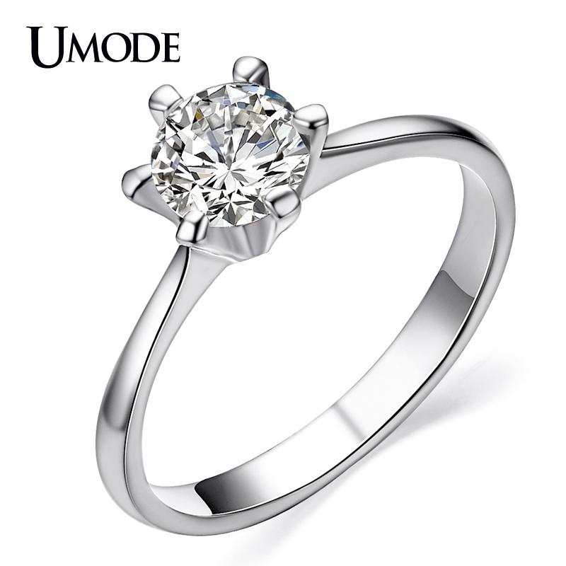 [해외]UMODE Anillo Classic 로듐 색상 6 프롱 세팅 CZ 쥬얼리 약혼 / 결혼 반지 AJR0012B/UMODE Anillo Classic Rhodium color 6 Prongs Setting CZ  Jewelry Engagement / Wedding