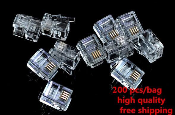 [해외]?200 개 6P4C 4 핀 4 접점 RJ11 전화 모듈러 플러그 잭 ADSL RJ11 커넥터/ 200 Pcs 6P4C 4 Pins 4 Contacts RJ11 Telephone Modular Plug Jack ADSL RJ11 Connector
