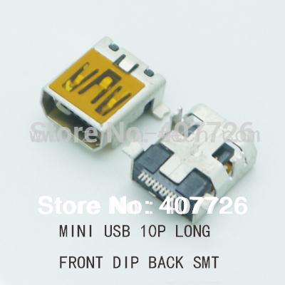 [해외]10PCS 소형 USB 연결 관 10PIN 여성 전화 힘 위탁 소켓 Termial USB 잭 (정면 DIP 뒤 SMT 긴 몸)/10PCS Mini USB Connector 10PIN Female Phone Power Charging Socket Termial U