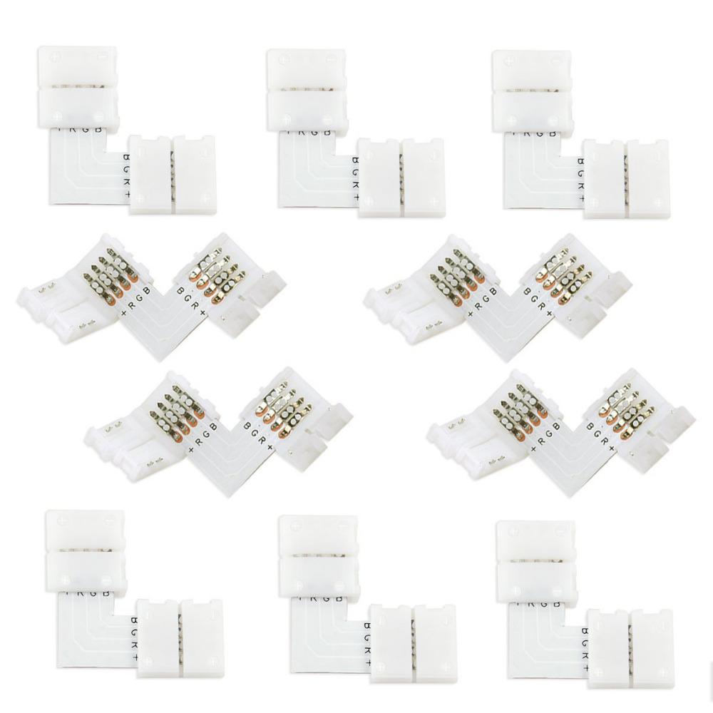 [해외]10set 4 핀 LED 커넥터 L 모양 연결 코너 직각 10mm 5050 LED 스트립 라이트 RGB 색상/10set 4 pin LED Connector L Shape For connecting corner right angle 10mm 5050 LED Str