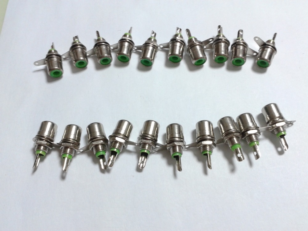[해외]20PCS 녹색 금속 RCA 포노 섀시 패널 장착 암 소켓 커넥터..