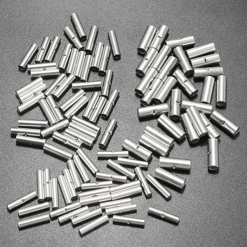 [해외]100PCS / Lot 버트 스플 라이스 커넥터 10mm 구리 22-10AWG 주석 도금 스플 라이스 압착 단자 슬리브 케이블 열 수축 튜브 슬리브 키트/100PCS/Lot Butt Splice Connectors 10mm Copper 22-10AWG Tinne