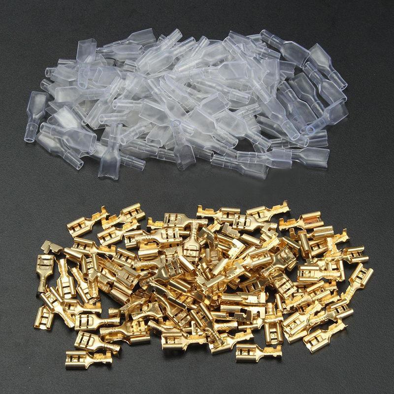 [해외]100 세트 6.3mm 골드 크림프 터미널 여성 스페이드 전기 커넥터 & amp; 절연 슬리브 랩 키트 자동차 전기 단자/100 sets 6.3mm Gold Crimp Terminal Female Spade Electrical Connectors &amp