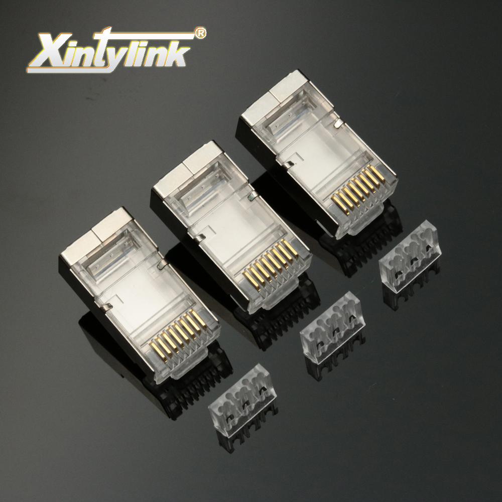 [해외]xintylink 50pcs rj45 커넥터 rj45 플러그 남성 8P8C cat6 네트워크 커넥터로드 바 stp 차폐 모듈 형 금도금 터미널/xintylink 50pcs rj45 connector rj45 plug male 8P8C cat6 network co
