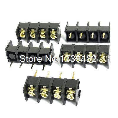 [해외]5pcs 300V 25A 4 핀 9.5mm 간격 PCB 널 검은 색 나사 고정 터미널 블록 커넥터/5pcs 300V 25A 4 Pin 9.5mm Spacing PCB Board Black Screw Terminal Block Connector