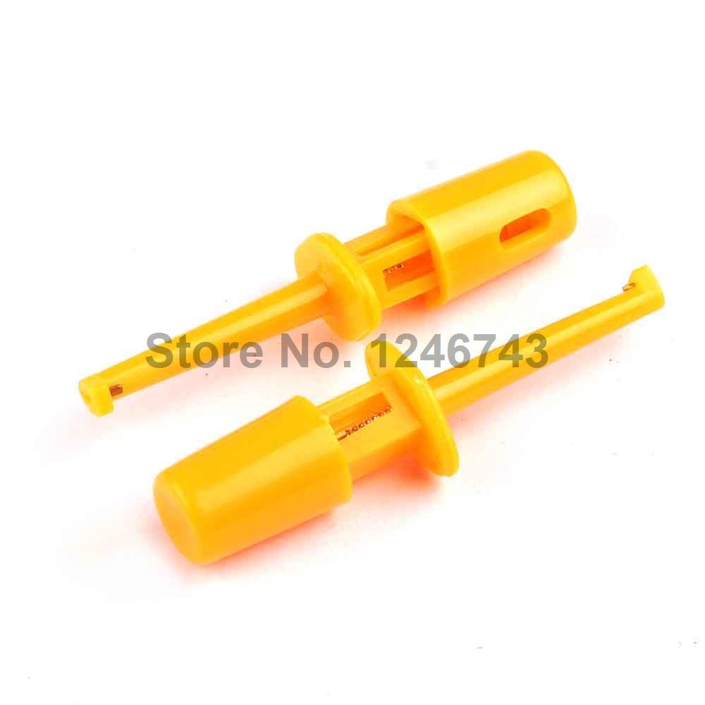 [해외]20PCS 노란색 멀티 미터 리드 와이어 키트 테스트 후크 클립 Grabbers 테스트 프로브 SMT / SMD IC D20 케이블 용접/20PCS Yellow Multimeter Lead Wire Kit Test Hook Clip Grabbers Test Pr