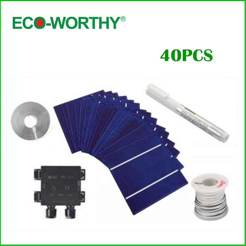 [해외]뜨거운 40PCS DIY 태양 전지 패널 12V 125 * 125mm 폴리 태..
