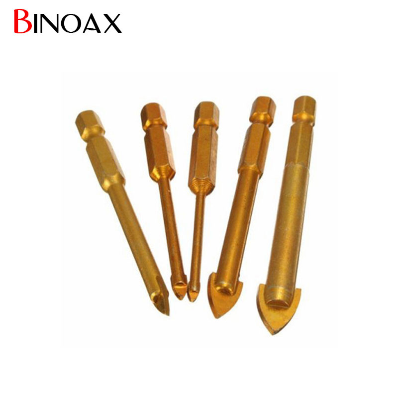 [해외]Binoax 5Pcs / set 유리 드릴 비트 세트 티타늄 코팅 전동 공구 액세서리 1 / 4 및 육각 샹크 3 / 4 / 6 / 8 / 10mm P00435/Binoax 5Pcs/set Glass Drill Bits Set Titanium Coated Pow